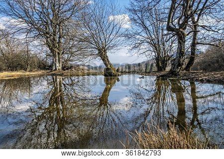Small Lake In Stiavnica Mountains, Slovak Republic. Seasonal Natural Scene. Hiking Theme.