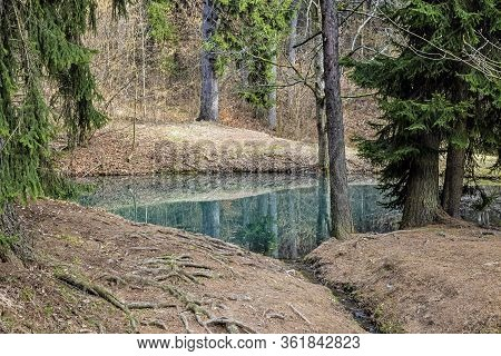 Water Reservoir In Stiavnica Mountains, Slovak Republic. Seasonal Natural Scene. Hiking Theme.