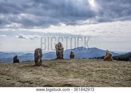 Stone Monoliths In Stiavnica Mountains, Slovak Republic. Hiking Theme.