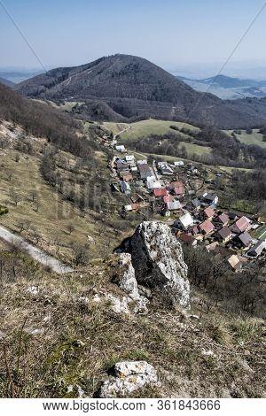 Vrsatske Podhradie Village From Vrsatske Rocks, White Carpathian Mountains In Slovak Republic. Trave