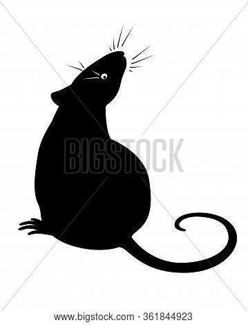 Sitting Rat - Vector Silhouette For Pictogram Or Logo. Silhouette Of A Rat Or Mouse Sitting And Snif