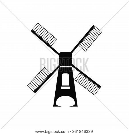 Windmill Black Line Icon, Vector Illustration.eps 10, Mill Icon