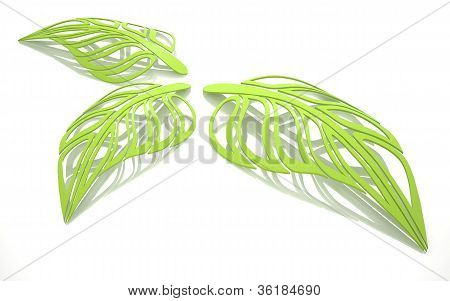 Three abstract green leaf, painted in 3D