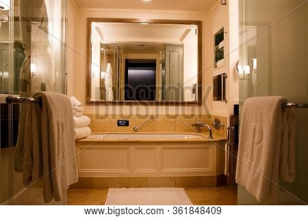 Chicago, Illinois, United States - Dec 12th, 2015: Modern And Spacious Bathroom Suite Designed With