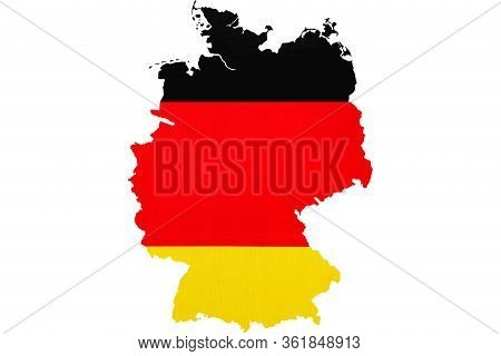 National Flag Of Germany. Close-up. Germany Contour. German Symbol