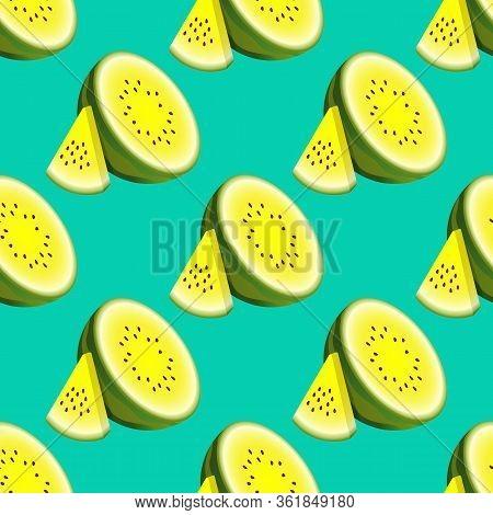 Vector Watermelon Seamless Pattern. Composition Half Watermelon And Triangular Slice Watermelon On T