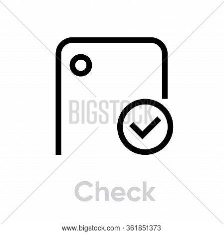 Check Phone Camera Icon. Editable Line Vector.