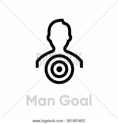 Man Goal Target Business Icon. Editable Line Vector.