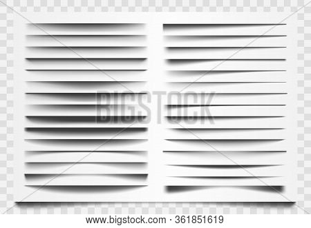 Shadow Realistic Divider. Line Shadow Separator, Corner Web Bar Divider, Horizontal Shadows Dividing