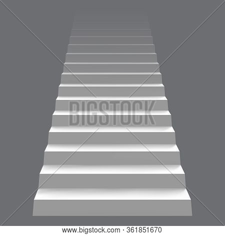 White Realistic Stair Concept. Modern Staircase, 3d Architectural Stairway. Career Staircase Ladder