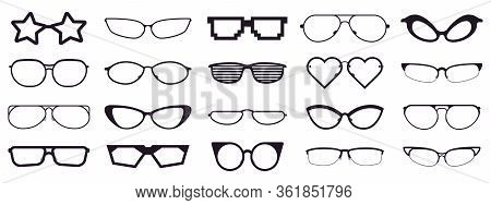 Spectacles Silhouette. Glasses Frames, Optics Eyewear And Eyeglasses Frame. Rim Optic Lens Glasses V