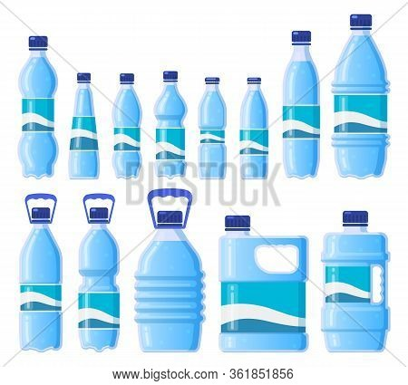 Water Plastic Bottle. Beverage Plastic, Glass Packaging, Bottled Water, Cold Water Storage. Drink Bo