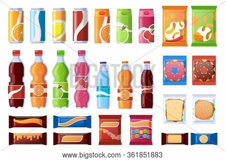 Vending Machine Snack. Beverages, Sweets And Wrapper Snack, Soda, Water. Vending Products, Machine B