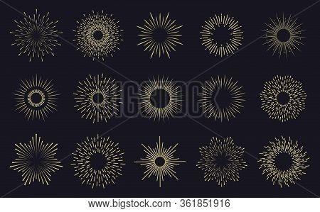 Vintage Sunburst Frames. Radiant Sunburst Lines, Hands Drawn Sunbursts Badges, Firework Sparks Rays.