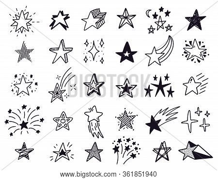 Doodle Stars. Hand Drawn Sketch Stars, Starry Doodles Drawing Icons. Star Shape Isolated Vector Illu