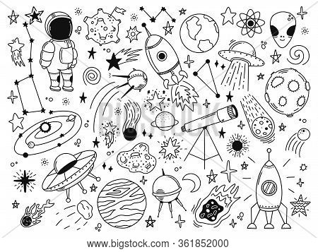 Hand Drawn Space. Doodle Space Planets, Astrology Cosmic Doodles, Telescope, Cosmic Rocket, Spacecra