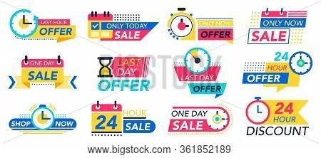 Countdown Badges. Sale Timer Promo Stickers, Countdown One Day Sales, 24 Hour Labels. Last Minute Of