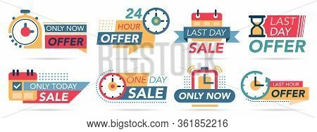 Sale Countdown Tags. Last Minute Badges, Special Countdown Offer, Only Now Promotions. One Day Sale