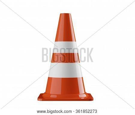 Single Orange Traffic Warning Cone Or Pylon Isolated On White Background - Under Construction, Maint