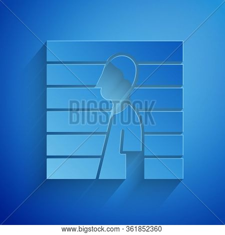 Paper Cut Suspect Criminal Icon Isolated On Blue Background. The Criminal In Prison, Suspected Near
