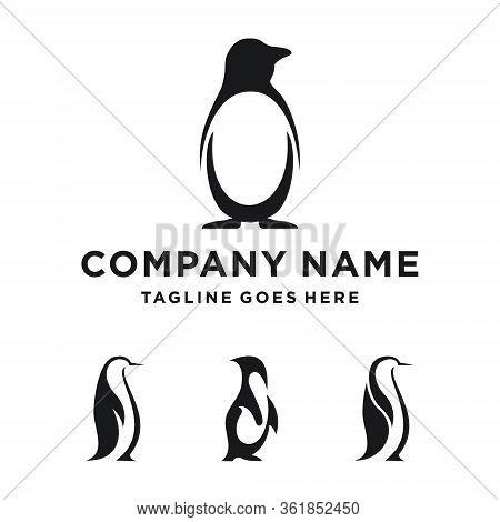 Penguin Logo Design. Penguin Set Logo Template. Modern Design. Flat Logo. Vector Illustration