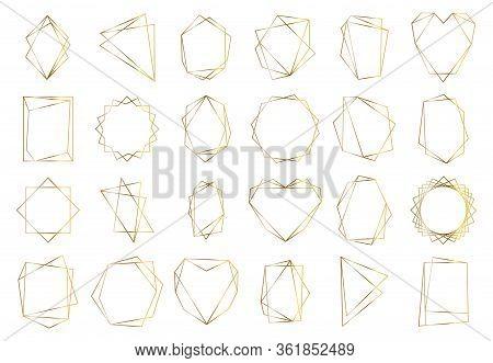 Golden Geometric Frames. Elegant Gold Hexagonal Elements, Abstract Wedding Invitation Frame. Vintage