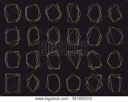 Gold Geometric Frames. Elegant Golden Luxury Frames, Geometric Wedding Invitation Border. Abstract G
