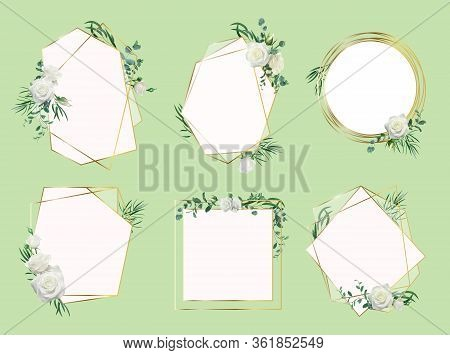 Flower Wedding Invitation Border. Floral Frames, Roses Wedding Floral Invitation Card, Elegant Flora