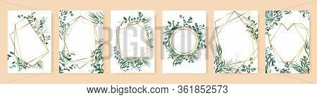 Green Leaf Frames. Spring Wedding Invitations, Floral Branches Gold Geometric Borders. Elegant Flora