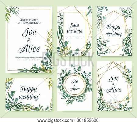 Wedding Invitation Frames. Floral Elegant Invite Card, Floral Leaf Frames Templates. Modern Spring G