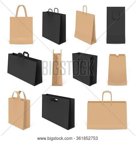 Realistic Shopping Bags. Paper 3d Bag Mockup, Craft Handbags And Corporate Identity Packaging. Packa