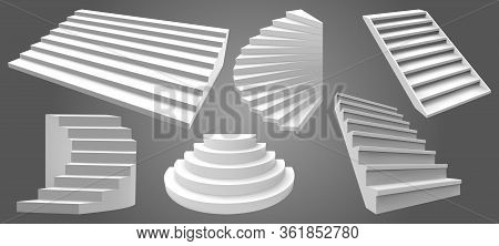 Architecture White Realistic Stairs. 3d Simple Interior Staircases, Modern Ladder Steps. Stairway Is