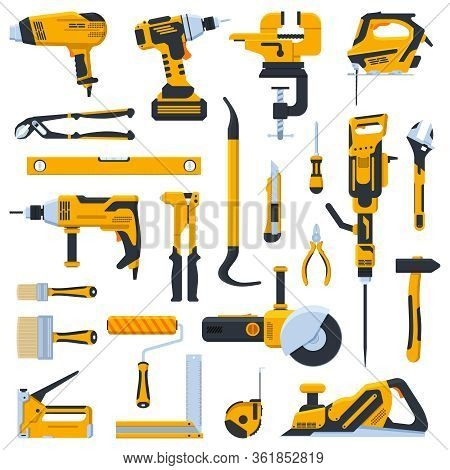 Building Construction Tools. Construction Home Repair Hand Tools, Drill, Saw And Screwdriver. Renova