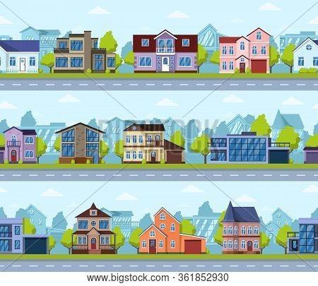 Suburban Seamless Cityscape. Panoramic Street House Exterior, Modern Real Estate. Living Houses Pano