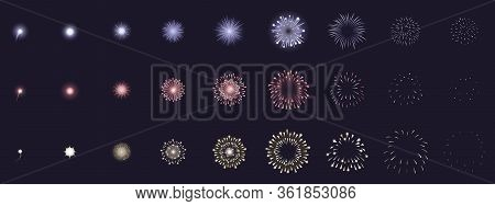 Fireworks Animation. Animated Firework Explosion Frames, Party Firecracker Explosion Storyboards. Fi