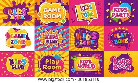 Kids Game Zone Banner. Children Game Party Posters, Kid Play Area, Entertainment, Education Room. Ba