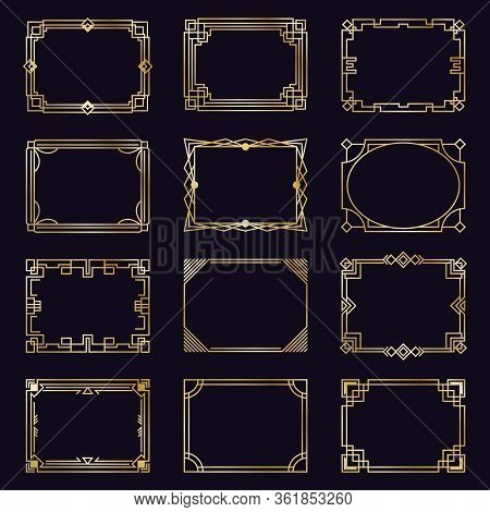 Golden Art Deco Frames. Modern Gold Elegant Borders, Arabic Geometric Decorative Ornament Frame, Ant