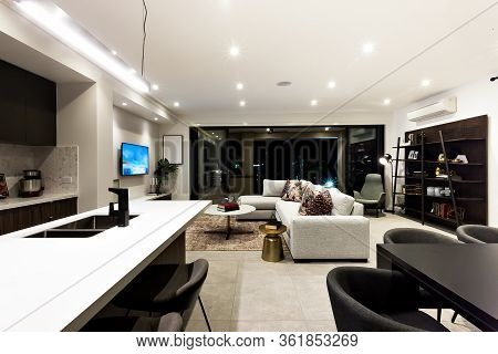 Creative Living Room Including Kitchen, Dinner, Shelf And Living Room Next To Outside Patio Area At