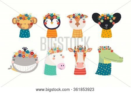 Set With Cute Funny Animals In Flower Crowns And Shirts. Hand Drawn Vector Illustration. Isolated Ob