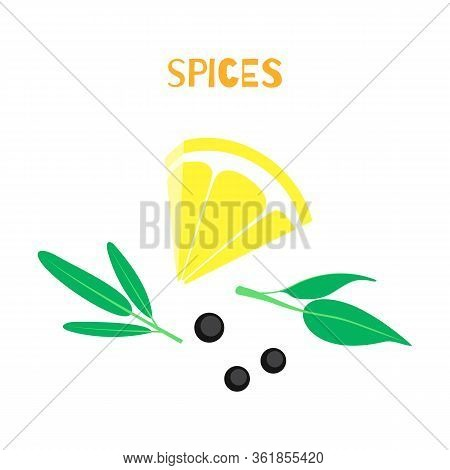 Set Of  And Vegetables. Lemon, Dried Peppercorns, Rosemary Isolated On White Background. Vector Illu