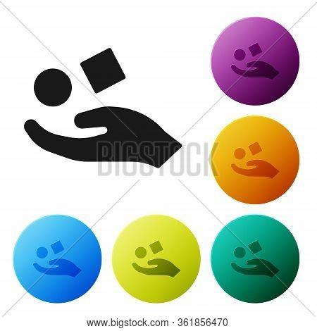 Black Cube Levitating Above Hand Icon Isolated On White Background. Levitation Symbol. Set Icons In