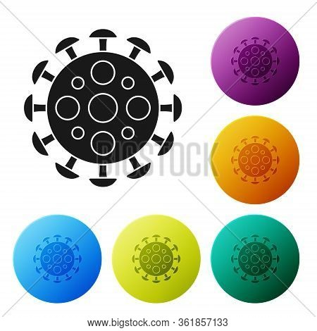 Black Virus Icon Isolated On White Background. Corona Virus 2019-ncov. Bacteria And Germs, Cell Canc