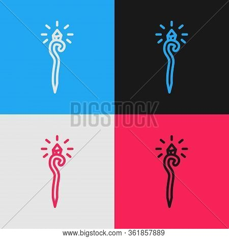 Pop Art Line Magic Staff Icon Isolated On Color Background. Magic Wand, Scepter, Stick, Rod. Vector