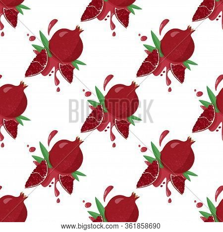 Hand Drawn Pomegranate Background With Juicy Splashes On White. Vector Seamless Pattern Of Fruit Pom