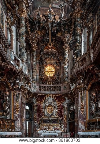 Feb 2, 2020 - Munich, Germany: Close View Of Ornate Altar Facade Of Baroque Church Asamkirche