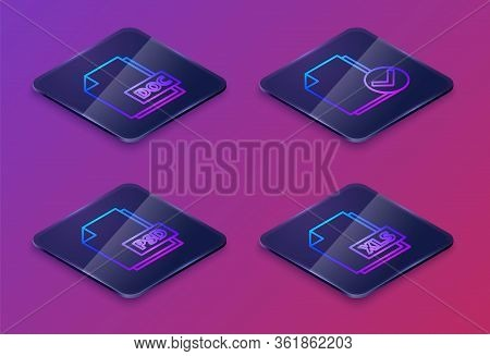 Set Isometric Line Doc File Document, Psd File Document, Document And Check Mark And Xls File Docume