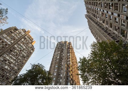 High Rise Buildings From The District Of Blok Districts In Novi Beograd, A Traditional Communist Hou