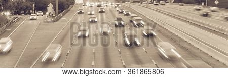 Rush Hour Traffic On Frontage Road And Southwest Freeway In Downtown Houston, Usa Slow Motion