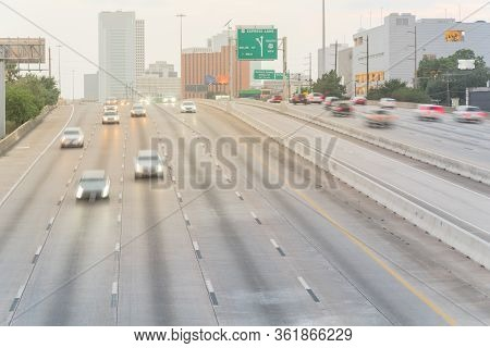 Long Exposure Aerial View Rush Hour Traffic Along Southwest Freeway In Downtown Houston, Texas, Usa