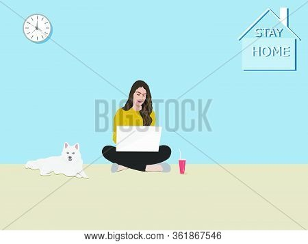 A Woman Sitting Using A Notebook In The House . The White Dog Sat Beside. There Was A Character Stay